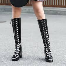 black silver patent leather knee high women boots fashion show catwalk lace up metal decor punk style squared toe booties 2018 low boots shoes
