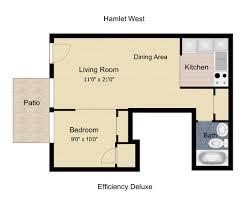 Floorplan: Hamlet West Apartments 1 bedroom 1 bath 500 square feet