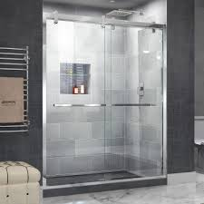 dreamline cavalier 56 in to 60 in x 77 375 in frameless bypass shower