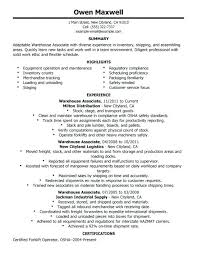 warehouse worker resume no experience example objective forklift driver