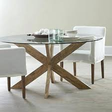decoration modern glass top round dining table with wood base in india