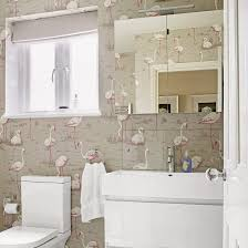 ideas for small bathrooms. 16. Distract From The Size With Feature Wallpaper Ideas For Small Bathrooms M