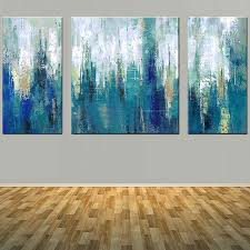 modern abstract art handmade three panels blue color canvas oil painting blue abstract wall picture living