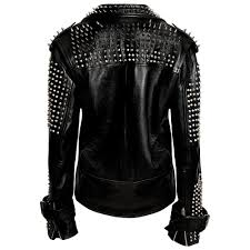 mens metal spikes cowhide buffalo leather jacket code 0294 availability in stock