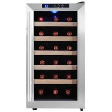 18-Bottle Single Zone Thermoelectric Wine Cooler in Stainless Steel with  Wooden