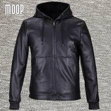 2019 black genuine leather jackets coats men heavyweight lambskin hooded motorcycle jacket veste cuir homme 2 patch pockets lt559 from biaiju