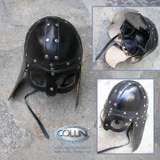 museum replica windlass leather viking helmet elmo in cuoio