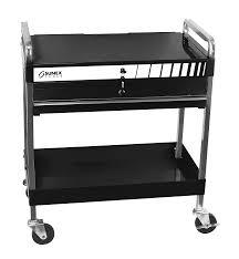 Top Locking Service Cart With Locking Top W Locking Drawer Black Sunex Tools