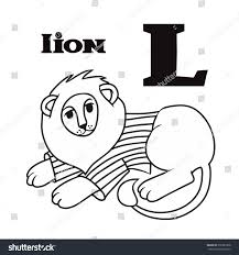 Cartoon Coloring Black White Lion Letter Stock Illustration