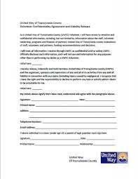 Volunteer Confidentiality Agreements Volunteer Confidentiality Agreement and Liability Release United 1
