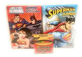 Click the superman coloring pages to view printable version or color it online (compatible with ipad and android tablets). Set Of 2 Justice League Jumbo Activity Coloring Books And 48 Crayons Featuring Superman Batman Robin Wonder Woman The Flash More Educational Toys Planet