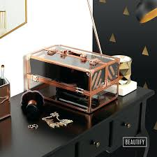 professional makeup vanity box india beautify large lockable acrylic cosmetic storage display case rose gold