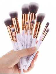 10pcs marble printed handle makeup brushes set white
