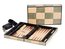 mens gifts backgammon set in an inlaid wooden box game set