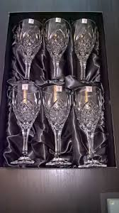 6 large quality rockingham crystal wine glasses brand new boxed
