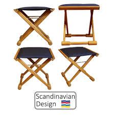 teak folding captains stool w cushions