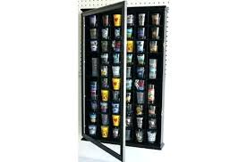 fascinating shot glass display case shooter holder cabinet wall rack without door diy plans