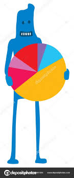 Cute Character Holding A Colorful Pie Chart Stock Vector