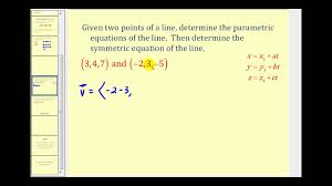 parametric equations of a line in 3d