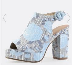 Light Blue Mules Peep Toe Floral Chunky Platform Mule Heel Sandals Light Blue