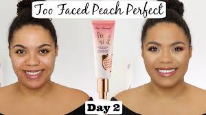 too faced peach perfect foundation review oily skin scarring 12 days of foundation day 2