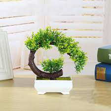 bonsai tree for office. New Creative Plastic Flower Bonsai Tree Plant Miniature Pot Culture Artificial For Office Desk Home R