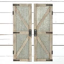 wood door wall decor corrugated metal wood framed barn door panel wall decor set of 2