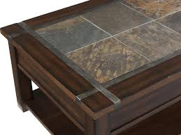 the vibrant slate inlay of the roanoke occasional table collection framed in wood and accented with pewter strapping and hardware is the perfect accent to