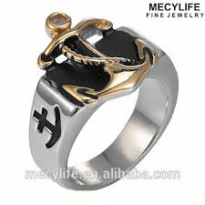 mecylife vine ring men s nautical jewelry gold anchor ring