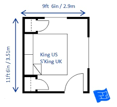 Superior Minimum Bedroom Size For A King Bed 9ft 6in X 11ft 6in ...