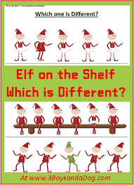 Christmas Printable Worksheets: Which Elf is Different – 3 Boys ...