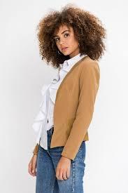 midland camel leather trim blazer