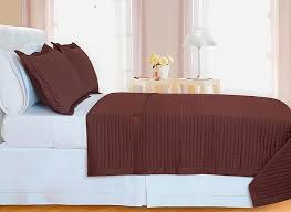 chocolate brown checd coverlet set egyptian cotton 400 thread count reversable twin size
