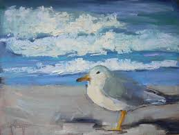 daily painting beach patrol ii by schiff 6x8 art sea gull painting