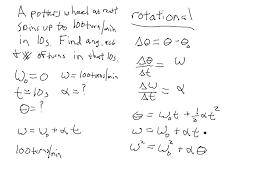rotational motion kinematic equations