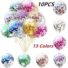 <b>10pcs 12inch</b> Confetti Balloons Clear Latex Balloon for Celebration ...