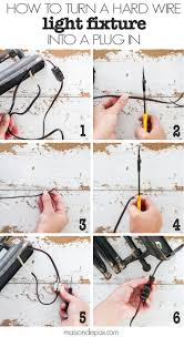 how to turn a hard wire light fixture into a plug in step by step