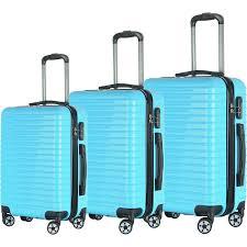 Light Luggage Sets Brio Luggage Eco Light 3 Piece Hardside Spinner Luggage Set Light Blue Brio Luggage Luggage Sets