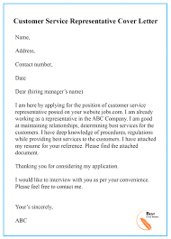 Cover Letter For A Customer Service Job Sample Cover Letter Template For Customer Service Pdf Doc