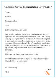 Sample Cover Letter Template For Customer Service Pdf Doc