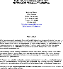 Control Charting Laboratory References For Quality Control Pdf