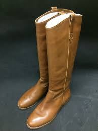 details about madewell 298 weston italian leather boots 9 brown f5110 knee high tall swag