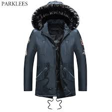 navy blue winter jacket coat men 2018 brand new thick warm hooded luxury fur coats jackets