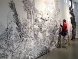 Art drawing office Wall Img0054crop Colossal Sprawling Wallsized Mural Drawn With Only Black Sharpie By Sean