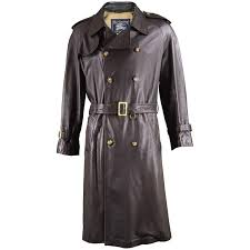 burberry men s brown leather vintage belted trench coat 1960s for