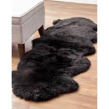 black double pelt sheepskin rug