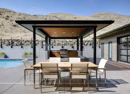 kitchen minimalist outdoor kitchen with outdoor dining room and lounge room having modern furniture rustic