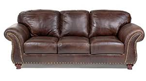 Capri 100 Full Aniline Dyed Antique Brown Nail Head Brazilian Leather Sofa Antique Leather Sofa I50