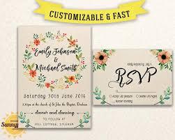 printable wedding invitation template fl kraft rustic wedding invitations with rsvp diy wedding invitation template