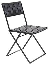 lina leather folding dining chair black